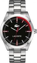 Lacoste stalen herenhorloge LC2010730 - zwarte wijzerplaat - stalen band - rood detail - 44 mm - 5 ATM