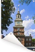Independence Hall op een zomerse dag in Philadelphia Tuinposter 120x180 cm - Tuindoek / Buitencanvas / Schilderijen voor buiten (tuin decoratie) XXL / Groot formaat!