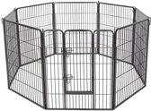 MaxxPet Hondenren - puppyren met 8 kennelpanelen staal 80x100cm - Ø 210 cm