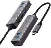 Baseus USB Hub 3 x USB 3.0 poorten + 2 x USB 2.0 poorten - Grijs