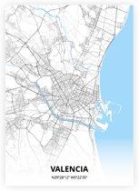 Valencia plattegrond - A3 poster - Zwart blauwe stijl