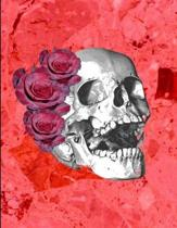 Skull Red Rose Hair Red Marble Notebook Journal 150 Page College Ruled Pages 8.5 X 11