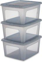 IRIS Clearbox Opbergbox - 18 l - Kunststof - Transparant grijs - 3 stuks