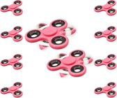 relaxdays 10 x Fidget Spinner in roze - hand spinner - 3 armen - anti-stress speeltje