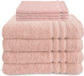 Byrklund Set Roze - 4x Handdoek 50x100cm + 4x Washand 16x21cm