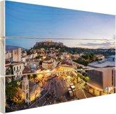 Monastiraki Athene Hout 160x120 cm - Foto print op Hout (Wanddecoratie) XXL / Groot formaat!