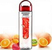 Waterfles met fruit filter- rood - 4 stuks