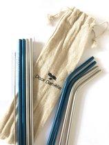 10 Delige set RVS rietjes in 2 kleuren - herbruikbare rietjes -  duurzaam en stijlvol - milieuvriendelijk - 8 rietjes + schoonmaakborstel - drinkrietjes - roestvrijstaal - metalen rietjes - Blauw en Zilver