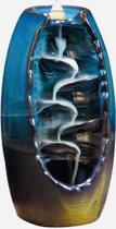 Backflow wierook brander / houder waterval Turquoise & Bruin keramiek 20 gratis Wierook XL Kegels.