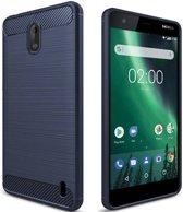 Nokia 2 - Geborstelde TPU Cover - Blauw