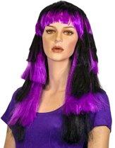 Gigi pruik zwart/paars