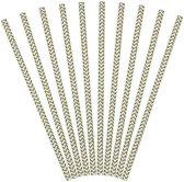 Partydeco Papieren rietjes streep goud - 10 stuks