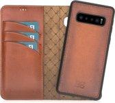 Bouletta Afneembare 2-in-1 Magneet Leren BookCase Hoesje Samsung Galaxy S10 Plus - Rustic Cognac