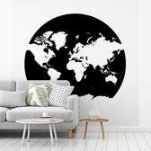 Fotobehang vinyl - Witte wereldkaart op een zwarte aardbol breedte 220 cm x hoogte 220 cm - Foto print op behang (in 7 formaten beschikbaar)