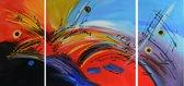 Schilderij abstract 3-luik 120x60 Artello - Handgeschilderd - Woonkamer schilderij - Slaapkamer schilderij - Canvas - Modern