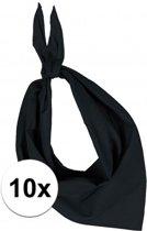 10x Zakdoek bandana zwart - hoofddoekjes