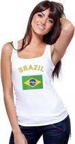 Witte dames tanktop met vlag van Brazillie L