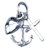 Zilveren Hoop, Geloof en Liefde ketting hanger - beweegbaar