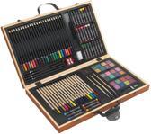 88-delige tekenset in houten koffer