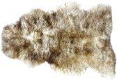 Lamsvachtje Straciatella – 75 x 50 cm - Zeer Rijk Haar - 100% ECHT - Schapenvachtje Gemêleerd Wit met Bruine Tops - Vloerkleed - Lam Huid