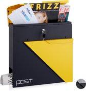 relaxdays wandbrievenbus - afsluitbaar - krantenrol - A4 formaat - brievenbus - wandmodel zwart-geel