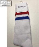 Ewers Knie sokken wit met rood wit blauwe streep