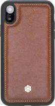 Bomonti - Clevercase Apple iPhone XR hoesje bruin Milan - Handmade lederen back cover - Geschikt voor draadloos opladen