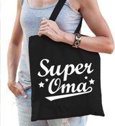 Cadeau tas zwart katoen met de tekst Super oma - kadotasje voor oma's