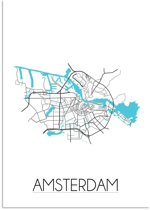 Plattegrond Amsterdam Stadskaart poster DesignClaud - Wit - A4 + fotolijst wit