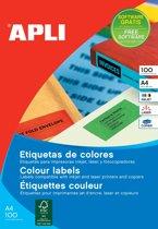 2x Apli Gekleurde etiketten 105x37mm (bxh), geel, 1.600 stuks, 16 per blad, doos a 100 blad
