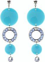 Oorbellen met blauwe ronde hangers en steentjes