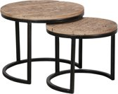 Duverger Recycled - Salontafels - set van 2 - rond - dia 50 & 40 cm - massief gerecycled hardhout - metalen halfrond frame