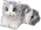 Pluche grijs met witte kat 20 cm