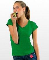 Dames t-shirt  V-hals grasgroen 36 (S)