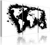 Schilderij - Wereldkaart - De Wereld in Zwart-Wit, 3luik