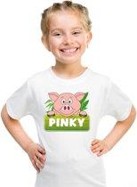 Pinky de big t-shirt wit voor kinderen - unisex - varkentje shirt XS (110-116)