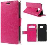 Magnetic Wallet Hoesje Samsung Galaxy S6 Edge roze