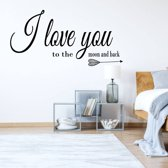 Muursticker I Love You To The Moon And Back -  Zilver -  80 x 40 cm  - Muursticker4Sale