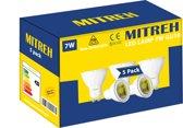 Pak Van 5 LED Mitreh 7W (gelijk is aan 50W gloeilamp) GU10 warm wit 3000K [Energy Class A+]
