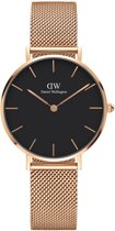 Daniel Wellington Petite Melrose Black DW00100161 - Horloge - Staal - Rosé - Ø 32 mm