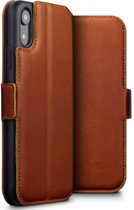 Qubits - lederen slim folio wallet hoes - iPhone XR - Cognac