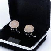 Manchetknopen - Echt Zilver 925 Rond Rozenkwarts Roze