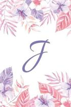 J: Initial J Monogram Notebook Journal Gift Pink and Purple Tropical Floral design