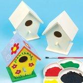 Kleine houten vogelhuisjes - ontwerp je eigen - creatieve knutselmateriaal voor kinderen en volwassenen om te schilderen en versieren (4 stuks)