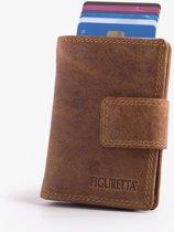 e6f892fc417 Figuretta Leren RFID Cardprotector Creditcardhouder met Muntgeldvak Hunter  Bruin