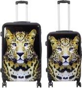 2 delig kofferset Polycarbonaat met unieke print - Leopard | 68cm - 78cm | 183 Liter