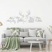 Muursticker Herten Met Bergen Bomen En Huis -  Wit -  120 x 51 cm  - Muursticker4Sale