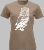 T-shirt V Twee bosuilen - Cafelatte - V - XXL Sportshirt