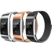 KELERINO. Milanese Bandjes voor Fitbit Charge 2 - 3-pack - Zwart – Zilver – Rose Goud - Small