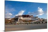 Blauwe lucht boven het Potalapaleis in China Aluminium 90x60 cm - Foto print op Aluminium (metaal wanddecoratie)